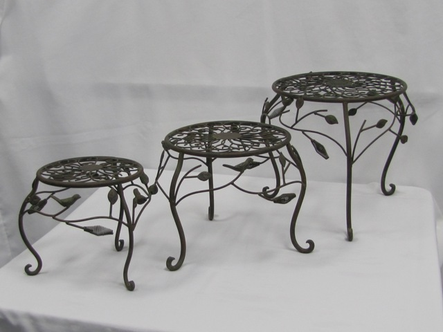 Rustic Footstools Leaves and Birds