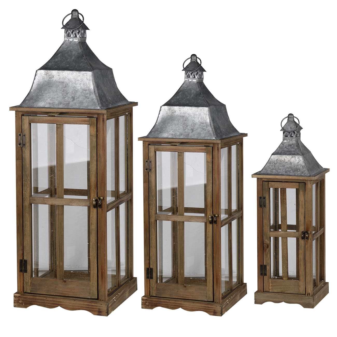 Wood/Galvanized Lantern